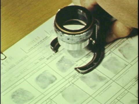 Fingerprints examined, enlarged and analyzed