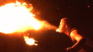 Fire Breather / Breathing Performer blow flames from mouth
