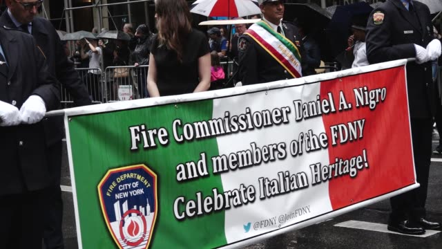 Fire Commissioner Daniel A Nigro and members of the FDNY march during the 73rd Annual Columbus Day Parade on 5th Avenue Midtown Manhattan New York...