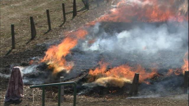 A fire consumes dry grass in Saitama-ken, Saitama-shi, Japan.