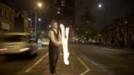 Fire Dancer in the street