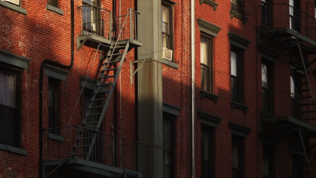 MS TU Fire escape on apartment building, New York City, New York State, USA