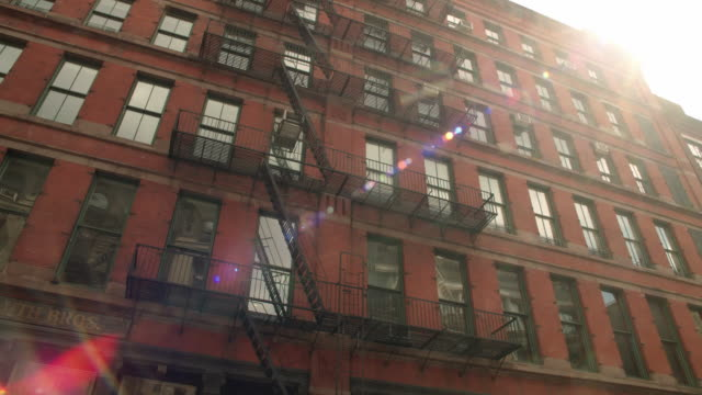 LA Fire escapes outside of New York Apartment Building / New York, United States