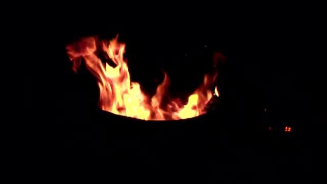 fire in a metal barrel