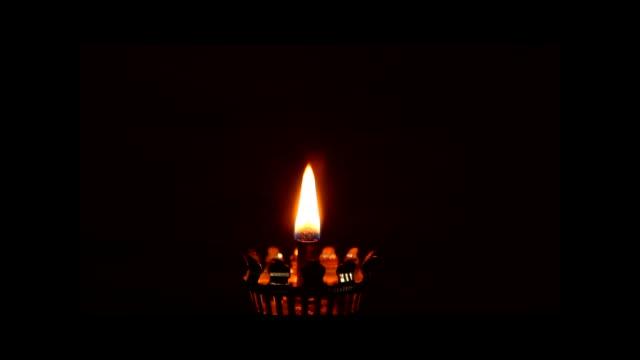 Fire of oil lamp