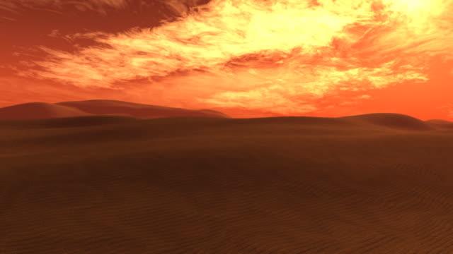 fire sky over the desert