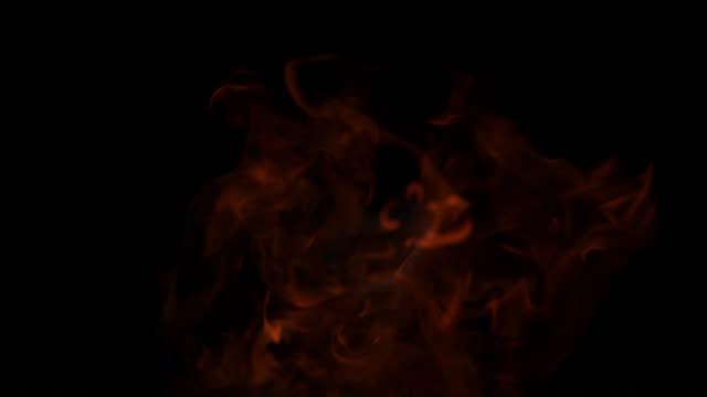 SLO MO of fire Zungen Sie aus schwarzem Hintergrund