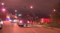 Fire Truck Next To Fallen Street Light on October 14 2013 in Chicago Illinois