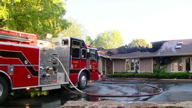 Fire Trucks At House Fire Scene on July 24 2013 in Carmel Indiana