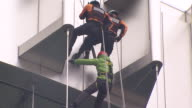 MS TS Firefighter rescuing through repelling down from building / Incheon, South Korea