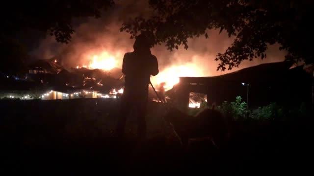 Firefighters are battling a warehouse blaze in Tottenham London Fire Brigade has said A brigade spokeswoman said warehouse storage units were alight...