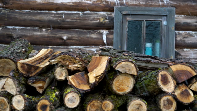 Firewood next to the country house, under snow in winter