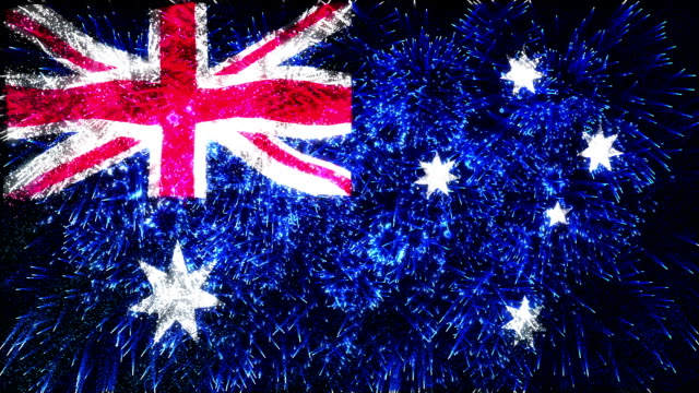 firework display flag of Australia