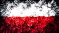 Fuochi d'artificio con bandiera della Polonia
