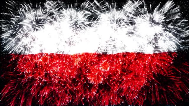 firework display flag of Poland