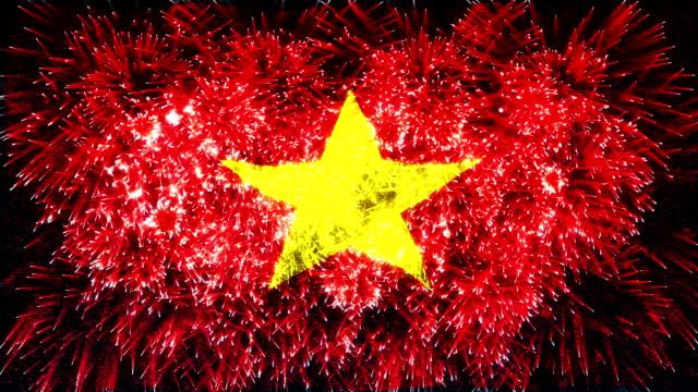 firework display flag of Vietnam