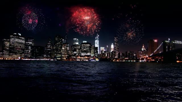 Firework display over Manhattan New York
