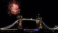 Fireworks behind Tower Bridge in London