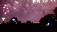 Fireworks display and crowd of watchers