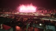 Fireworks display at Maracana Stadium on the opening night of the 2016 Rio de Janeiro Olympic Games