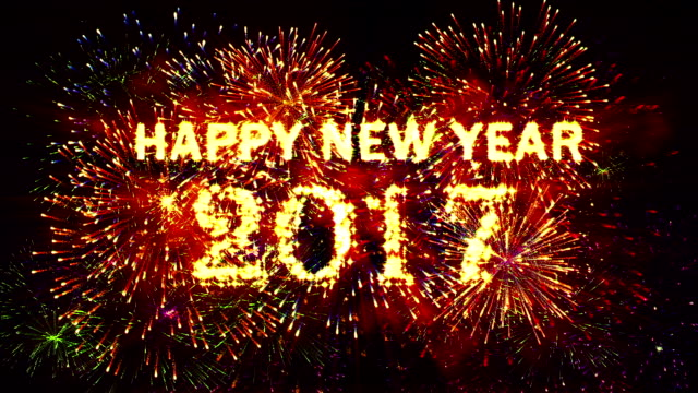 Fireworks Happy New Year 2017 Red Stock Footage Video ...