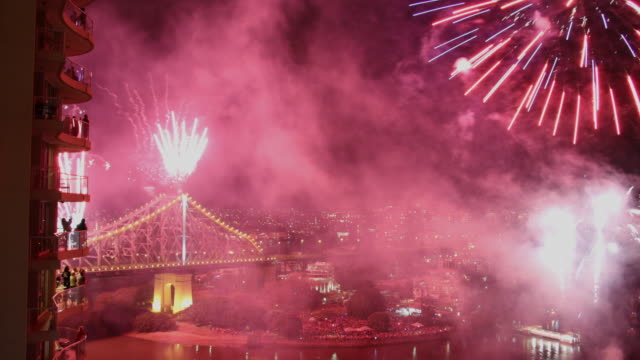 Fireworks Timelapse Brisbane River-fire and from an elevated view of part of the Story Bridge