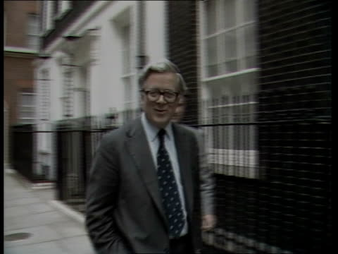 First cabinet meeting since general election ENGLAND London Downing Street Number 10 EXT Leon Brittan arriving and posing on steps Sir Geoffrey Howe...