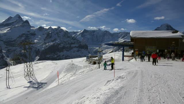 First Cable Car with Schreckhorn, Grindelwald, Bernese Alps, Switzerland, Europe