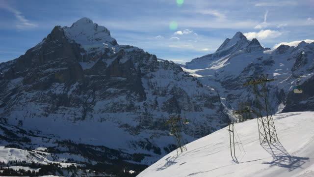 First Cable Car with Wetterhorn and Schreckhorn, Grindelwald, Bernese Alps, Switzerland, Europe