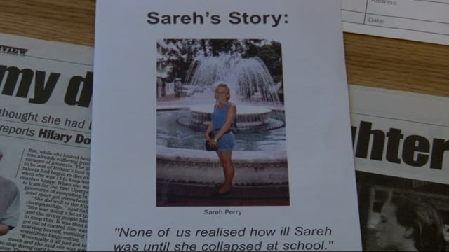 First commemoration service for victims of eating disorders Leaflet 'Sareh's Story' showing Sareh Perry who died from anorexia
