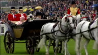 First day of Royal Ascot Queen arrives ENGLAND Berkshire Ascot EXT GVs Queen Elizabeth II Prince Charles Prince of Wales and Camilla Duchess of...