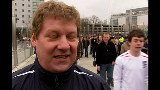 First international match at new Wembley Stadium Wembley EXT Vox pops England fans after match SOT
