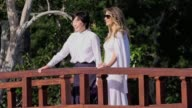 US First Lady Melania Trump and Akie Abe wife of Japanese Prime Minister Shinzo Abe tour the Morikami Museum and Japanese Gardens in Delray Beach...
