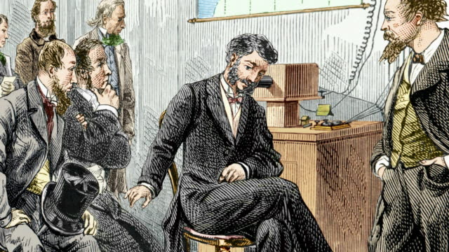 First long-distance telephone call. Alexander Graham Bell (1847-1922, centre) performing the first long-distance telephone call in 1876.