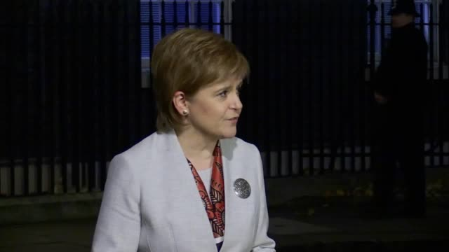 First Minister of Scotland and leader of the SNP Nicola Sturgeon speaks outside Downing Street after her meeting with Prime Minister Theresa May