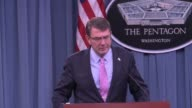 First press conference by new US Defense Secretary Ashton Carter with UK Secretary of State for Defence Minister Michael Fallon Includes soundbites...