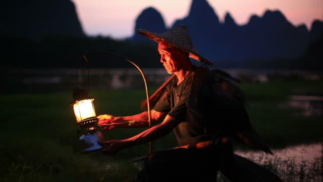 fisherman preparing work