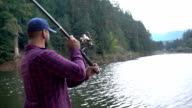 Fisherman throws fishing tackles