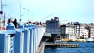 4K: Fishermen and tourists are on the Galata Bridge, Time Lapse