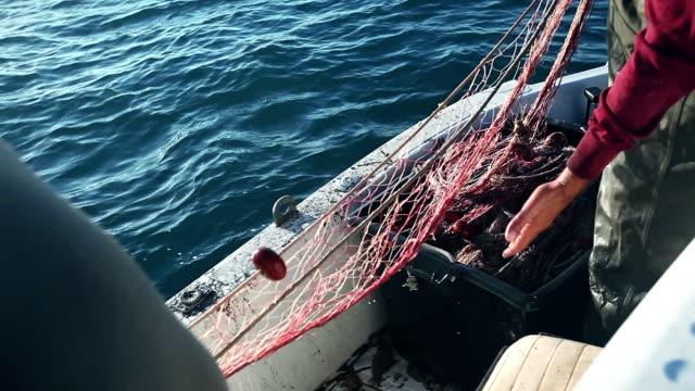 Fishermen at work pulling fishing nets