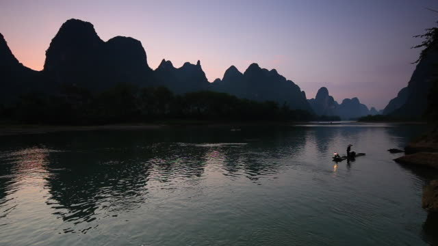 Fishermen fishing in the morning,Li River,Yangshuo,Guilin,Guangxi,China