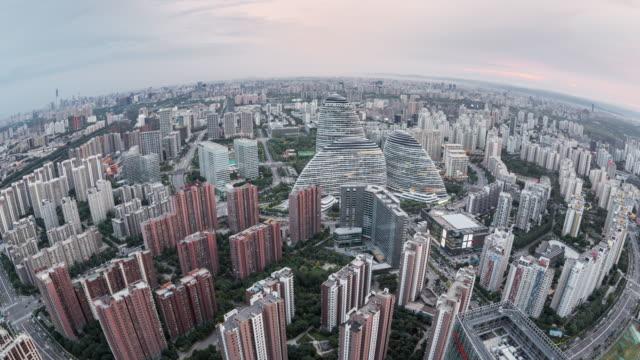 T/L TD Fisheye and Aerial View of Beijing Skyline / Beijing, China