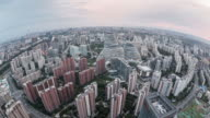T/L Fisheye and Aerial View of Beijing Skyline