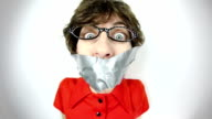 Fisheye Video Geeky Woman Taped Mouth