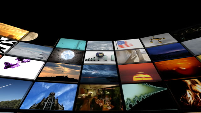 Fisheye view of a huge video panel
