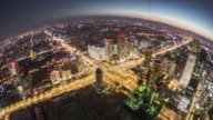 T/L WS HA Fish-eye View of Beijing Central Business District, Dusk to Night Transition / Beijing, China