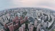 T/L Fisheye View of Beijing Skyline at Sunset