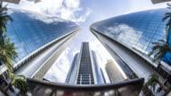 T/L WS Fisheye View of Modern Skyscrapers / Abu Dhabi, UAE