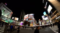Fisheye View of Shibuya Crossing at Night