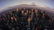 Fisheye view uptown Manhattan day to night